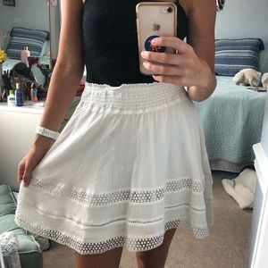 White skirt with lace trim